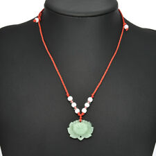 Women Vintage Natural Green Jade Lotus Pendant Lucky Charm Necklace Jewelry Gift