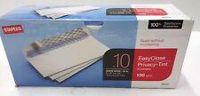 Staples Easy Close Privacy Tint Envelopes #10 White Wove 24lb 100ct OPEN BOX