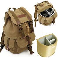 New Waterproof Canvas DSLR Camera Backpack Daypack Rucksack Travel Bag Schoolbag