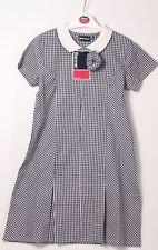 Banner NAVY 3/4 school gingham dress, zipped front, pleats, matching scrunchie