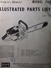 Mcculloch Chain Saw 740 Parts Catalog Manual 2 Cycle Gasoline Chainsaw May 1963