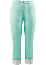 Stilvolle Stretchhose mit 7/8-Bein und Kontrastumschlag Gr.48