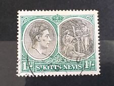 St Kitts Nevis KGVI 1938-50 SG75c 1s Chalky paper used stamp P14