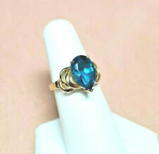 Topaz ring SOLID yellow gold !!! 3.50 Carats !!!  London Blue Topaz sz 6
