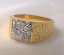 diamond solitaire ring Gents special G-Filled Men's 18ct yellow gold simulated