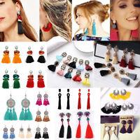 NEW Women Fashion Rhinestone Long Tassel Dangle Earrings Fringe Drop Earrings