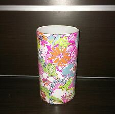 """New Lilly Pulitzer Glass Vase Hurricane Candle Holder Nosie Posey 10"""" Flower NWT"""