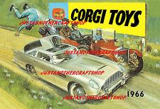 CORGI TOYS ASTON MARTIN di James Bond 1966 Poster Pubblicità opuscolo segno di piccole dimensioni