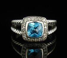 DAVID YURMAN SIGNED 7MM NATURAL BLUE TOPAZ & DIAMOND HALO ALBION CABLE BAND RING