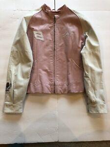 Wilson's Womens Leather Jacket Dale Earnhart Jr. #8 Racing Sz M Pink & White