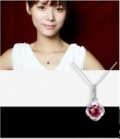 "Sterling Silver Plum Blossom Pendant Necklace Red Garnet Crystal CZ 18"" Chain"