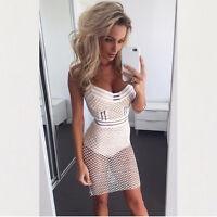 """""""Giana"""" White Sport Style Fishnet Bodycon Mini Dress Sizes 6-12"""