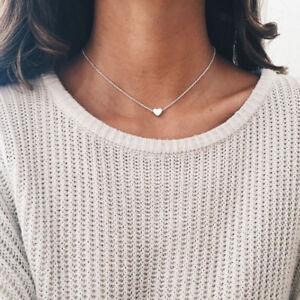 BT_ Women Jewelry Pendant 925 Silver Heart Choker   Chain Bib Necklace Cheap