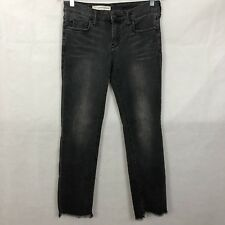 Anthropologie Pilcro 28 Jeans Gray Cropped Frayed Hem Cotton Stretch Ankle Denim