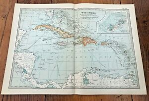 """1903 large colour fold out map titled """" west indies """""""