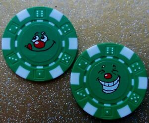 2 X SMILEY-FACE POKER DICE GOLF BALL MARKERS FREE U.K. P&P