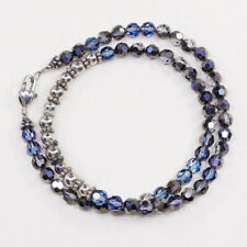 """18"""", vtg Sterling 925 silver handmade beads necklace w/ crystals beads"""