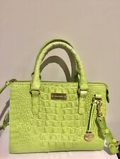 BRAHMIN Croc Embossed HANDBAG Bright SPRING GREEN Satchel Cross Body Purse Bag