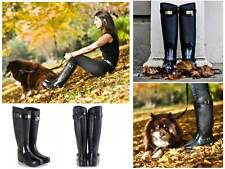 Beautiful Hunter Regent Clarence Black Leather-Rubber Riding Rain Boots US9 EU40