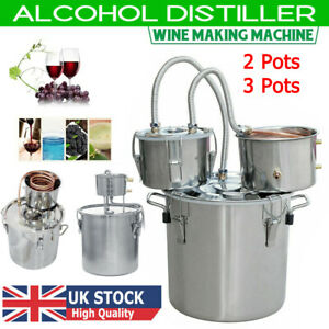 2/3/5/6/9 Gal Moonshine Alcohol Distiller Copper Wine Maker Water Still Boiler