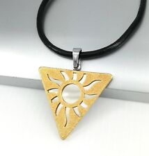Silver Gold Egyptian Pyramid Triangle Sun Pendant Black Leather Choker Necklace