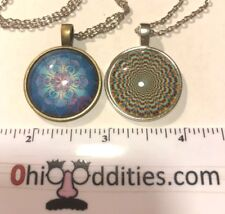 "2 Psychedelic Pendants 1 20"" Silver Colored Chain Necklace"