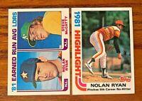 1982 Topps Nolan Ryan #5 and #167 - Astros HOF