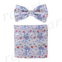Men's microfiber Pre-tied Bow Tie & hankie set Blue flowers formal wedding