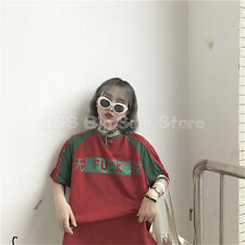 Harajuku ulzzang Vintage prints Speechless color loose T-shirt casual TOP RED