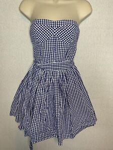 Abercrombie & Fitch Ladies Blue Gingham Strapless Cotton Dress Size M (D3)