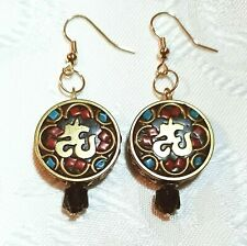 Gold Red Black Aqua Round Chinese Asian Luck Earrings New! ~EugeniaM Designs~