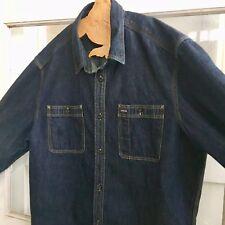 Gap XL Dark Blue Jean Denim Shirt 1969 Cotton Long Sleeve Button Front Mens