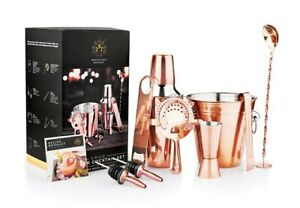 Manhattan Style 9pc Copper Plated Stainless Steel Cocktail Set Shaker Barware