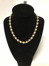VTG Signed Napier Gold Tone Faux Pearl Woven Necklace