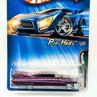 2005 Hot Wheels Pin Hedz 1/5 #091 1959 Cadillac Purple LW Lace Wheels New Sealed