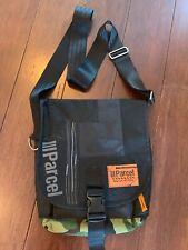 III PARCEL Messenger Shoulder Purse BAG, Black with Camo, Seatbelt Strap EUC