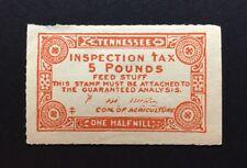 Tennessee State Revenue 5 lbs. orange, ½ mil Feed Tax #FE47 OG hinge remnant TN