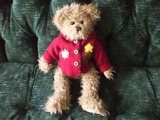 """The Bearington Collection 14"""" brown jointed bear with christmas jacket"""