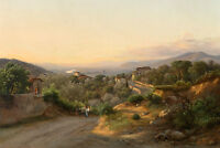 Stunning Oil painting farmers with donkey in sunset landscape  on the home road