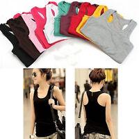 Summer Womens Casual Basic Tank Tops YOGA Vest Shirt Singlet Camisole Sports Tee