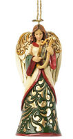 Jim Shore Christmas Ivory & Green Angel w/Harp Hanging Ornament ~ 4036334