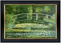 Framed Monet Bridge over Water Lily Pond Repro Hand Painted Oil Painting 24x36in