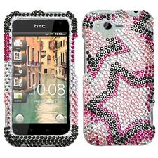 For Verizon HTC Rhyme Crystal Diamond BLING Hard Case Phone Cover Twin Stars
