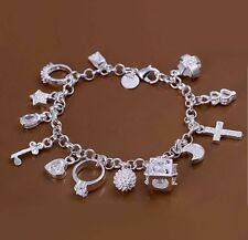Charm Bracelet With Gift Bag 925 Sterling Silver Classic Womens Girls 13 Charms
