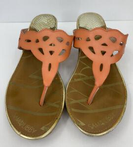 """Sam & Libby Orange Cut Out Slide Natalie Sandals 2.5"""" Cork Wedge Size 9"""