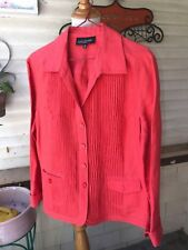 HOT FUCHSIA NEON PINK LINEN JACKET JONES NEW YORK PLEATED BODICE PETITE 12 12P