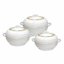 Insulated Casserole Hot pot 3pc Set Food Warmer Round Serving Dish Pan AMB White