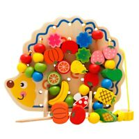 Toys Children Early Educational Learning Puzzle Wooden Toys Hedgehog Fruit BD4I6