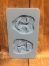 SILICONE MOULD THEATRE COMEDY TRAGEDY MASKS CUPCAKE THEATER ICING CLAY TOPPER