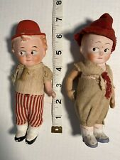 Googly Doll Pair Boys Molded Hat Original Clothes Kewpie Type Composition